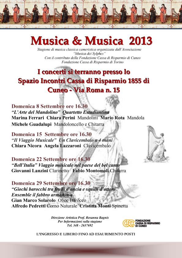 Locandina MUSICA E MUSICA Settembre 2013
