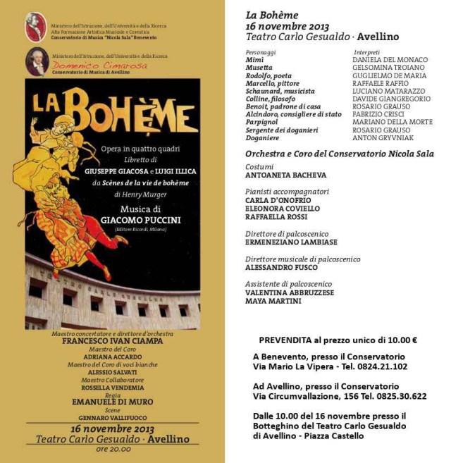 Locandina Bohème conservatorio Benevento