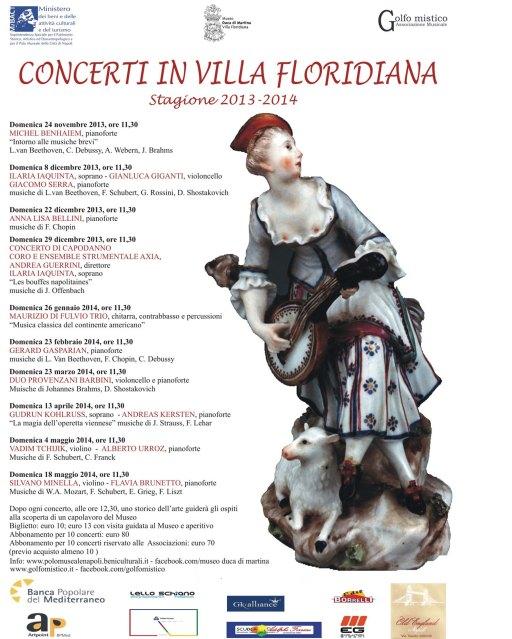 Locandina CONCERTI IN VILLA FLORIDIANA 2013-2014
