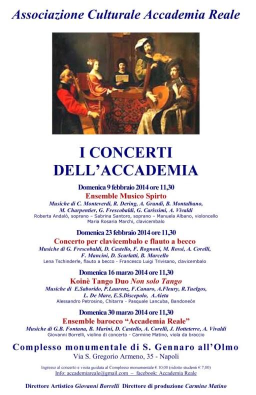 locandina I Concerti dell'Accademia - febbraio marzo 2014