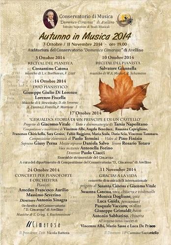 Locandina Concerti di Autunno al Cimarosa 2014