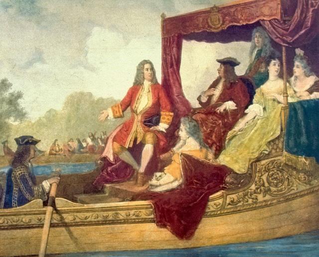 Händel e re Giorgio I in gita sul Tamigi (dipinto di Jean-Édouard Hamman)
