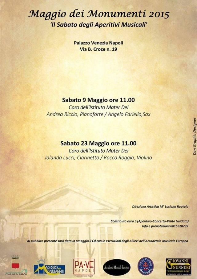 Locandina Sabato degli Aperitivi Musicali Palazzo Venezia Maggio
