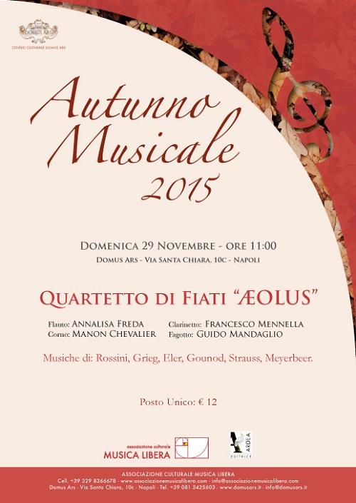 Locandina recital Quartetto Aeolus