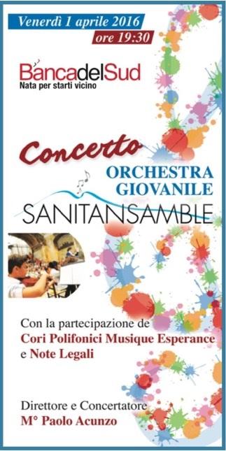 locandina Sanitansamble all'Agorà Morelli_Banca del Sud_1 aprile 2016
