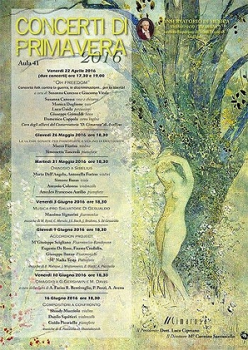 Locandina Concerti di Primavera Conservatorio di Avellino