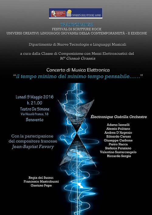 Locandina concerto 9 maggio musica elettronica Benevento