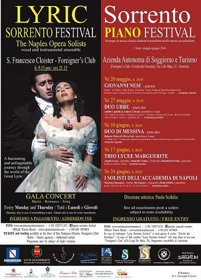 Locandina Sorrento Piano Festival & Sorrento Opera Festival 2016