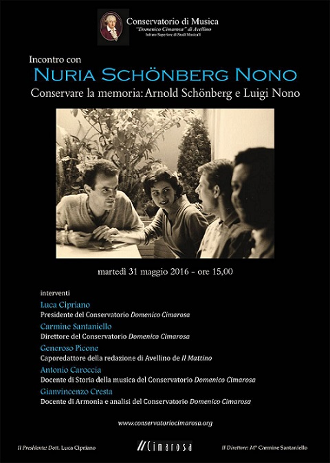 Locandina visita Nuria Schoenberg-Nono al Conservatorio di Avellino