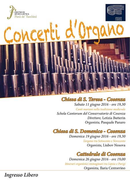 Locandina concerti d'organo Cosenza giugno