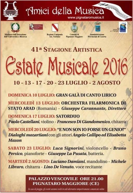 Locandina AMICI DELLA MUSICA ESTATE MUSICALE 2016
