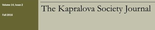 Copertina The Kapralova Society Journal